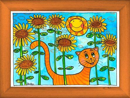 Kočka ve slunečnicích