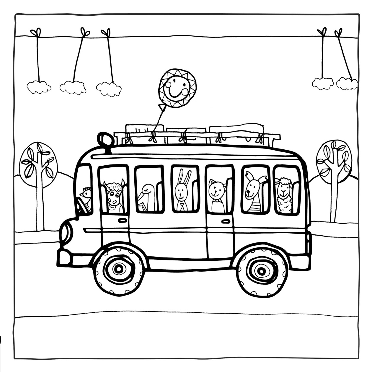 Bouřka Novost Vlnky omalovánky autobus   mybusan.org
